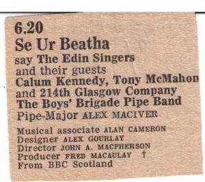 BBC Scotland listing