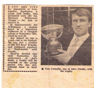 Joe MacLean Williamson trophy newspaper cutting
